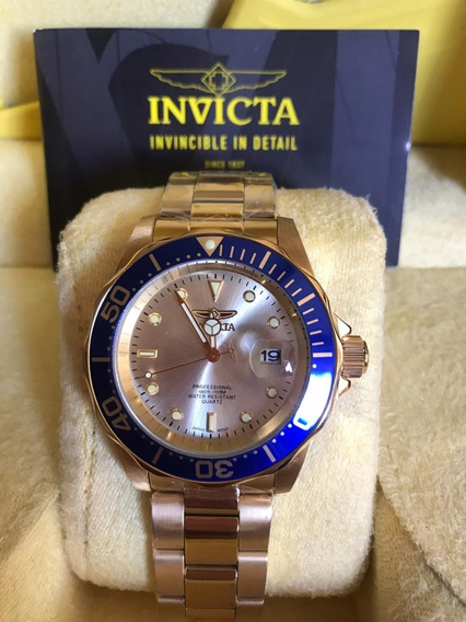 Invicta 14124 Pro Diver Gold Aço Inox 12xs/juros Original