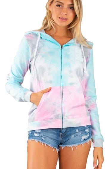 Sudadera Tie Dye Con Capucha Colores Pastel