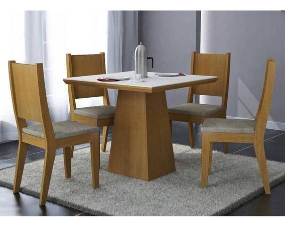 Conjunto De Mesa Mdf Tampo 90cm C/ 04 Cadeiras Imbuia