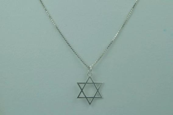 Corrente Prata De Lei Pura De 70cm +pingente Estrela De Davi