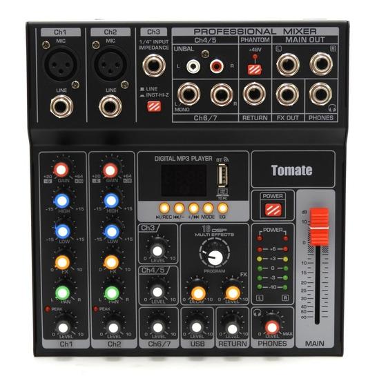 Mesa De Som 7 Canais Mp3 Estéreos Efeitos Usb Tomate Tyt-007