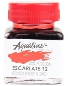 3x Aqualine Aquarela Líquida Aerografia Corfix 30ml  Escarla