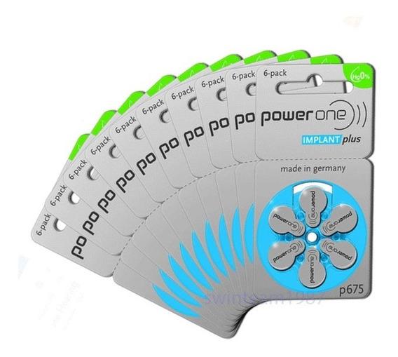 60 Pilhas Bateria P675 Powerone Implant Plus Coclear