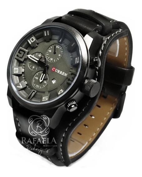 Kit 3 Relógios Curren Luxo Couro Original Com Garantia