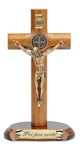 Crucifixo De Mesa Com Medalha De São Bento 12cm