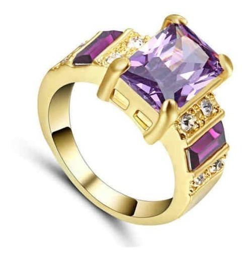 Anillo De Compromiso Oro 14k Piedra Amatista Talla 8