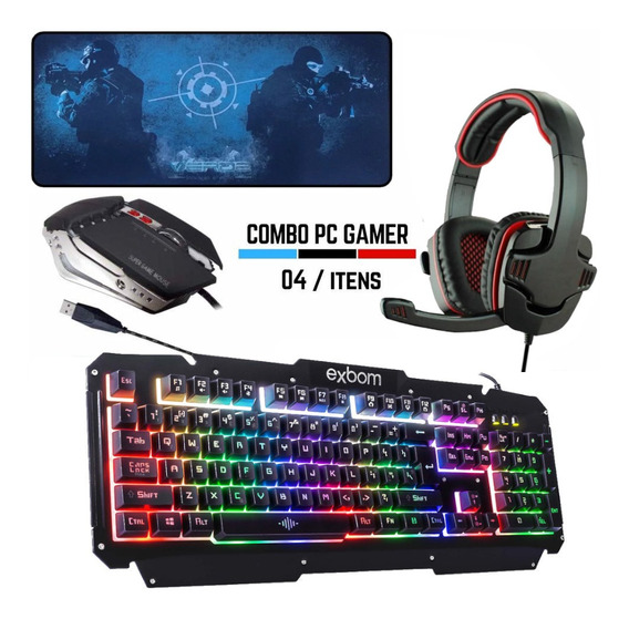 Kit Gamer Completo Teclado + Mouse + Headset Usb Pc Barato