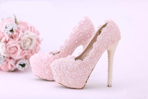 Sapato Salto Alto 14 Plataforma Rosa Bordado Perola Entrega