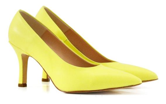 Stilletos De Cuero En Amarillo Fluor
