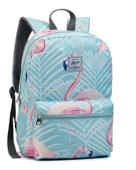 Mochila Escolar Feminina Unicornio Flamingo Seanite Mj14047