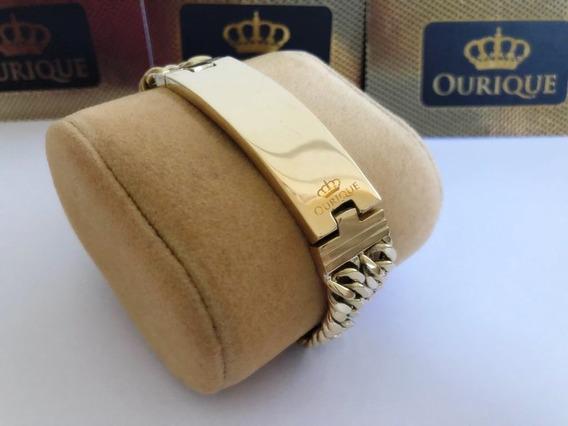Bracelete Ouro 18k Com Placa Pulseira Grumet Duplo Luxo