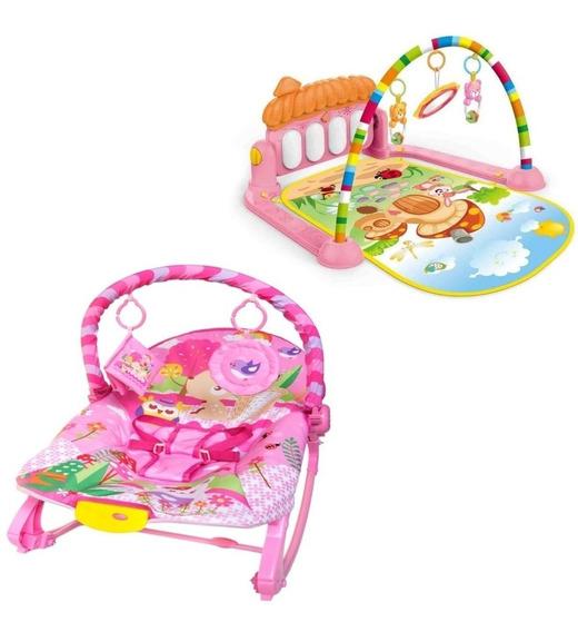 Cadeira Bebê Musical Balanço Vibra + Tapete Atividades Cnr3