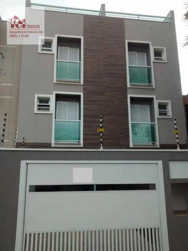 Imagem 1 de 14 de Cobertura Com 106 M² - Sem Condomínio Com Elevador - 2 Dormitórios (1 Suíte), 1 Vaga - À Venda Por R$ 415.000 - Utinga - Santo André/sp - Co0944