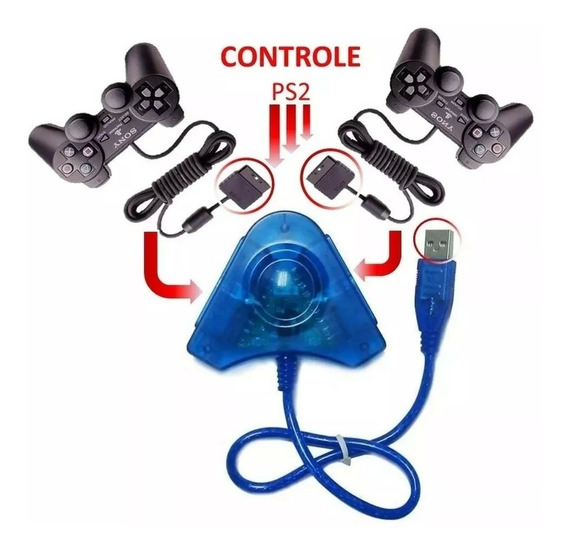 ¿adaptador Usb Duplo P/ Controles Ps1 E Ps2 Ligue No Pc E P