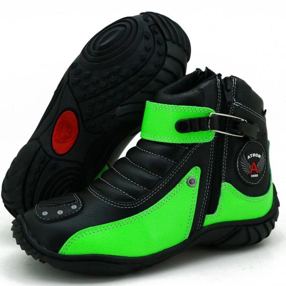 Bota Motociclista Motoqueiro De Couro Atron Shoes - Oferta