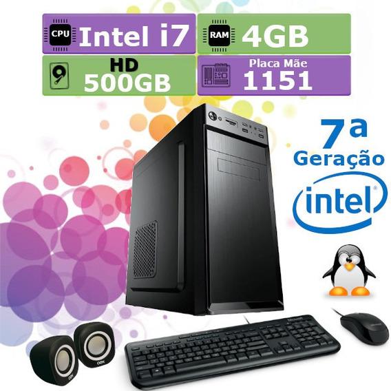 Pc Home 7ª Geração I7 7700 4gb Hd 500gb Teclado Mouse Cx/som