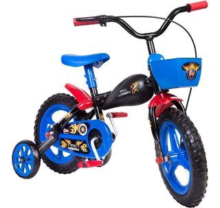 Bicicleta Infantil Masculina Aro 12 Com Cesta Preto Ate 25kg