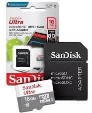 Micro Sd Ultra 16gb Classe 10 80mbs Cartão De Memória Sandisk