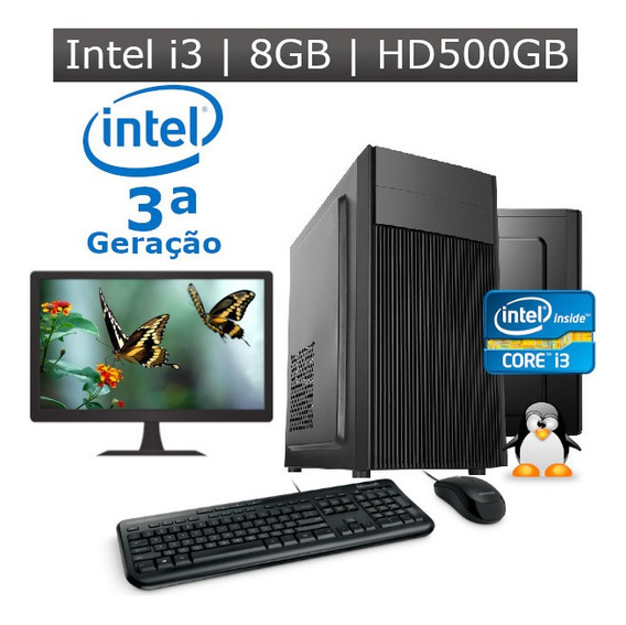 Pc Desktop I3 3ª Geração 4gb Hd 500gb + Kit + Monitor 19 Nf