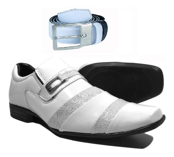 Sapato Branco Mais Cinto Branco Casamento Brilhoso Verniz