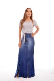 Saia Longa Jeans Com Lycra Fenda E Bolsos Moda Evangélica