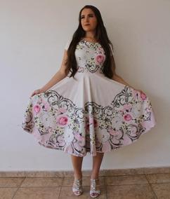 Vestido Moda Evangélica Godê Rodado Cinto Frete Grátis