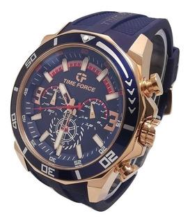 Reloj Time Force Hombre Tf5027mrb-03 Azul Oro Rosa Original