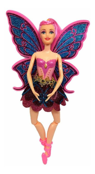 Boneca Fada Bailarina Tipo Barbie - Articulada Cabelo Rosa