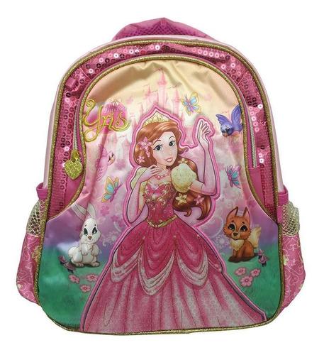 Imagem 1 de 4 de Mochila Infantil Escolar Feminina Princesa Yris Rosa Média