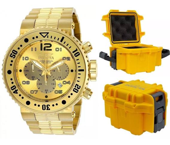 Relógio Invicta Pro Diver 25076 Banhado Ouro 18k Maleta