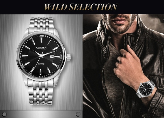 Relógio Masculino Luxo Importado Curren 8052 Original Em Aço