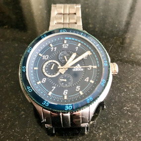 Relógio Cronógrafo adidas Azul Cromado 5cm Masculino Usado