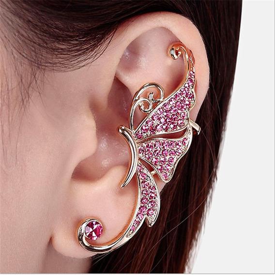 Lindo Brinco Ear Cuff Borboleta Dourado Rosa Strass Unidade