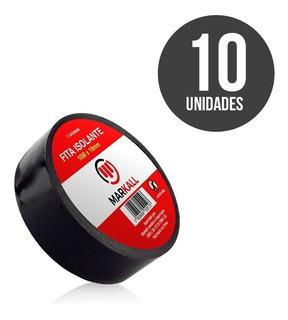 Fita Isolante Preta Reforçada 10 Metros 19mm Kit Com 10