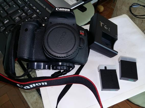 Câmera Canon T6i - Corpo, Carregador Original, 2 Baterias Originais Canon E Alça De Couro Lateral Vai De Brinde..