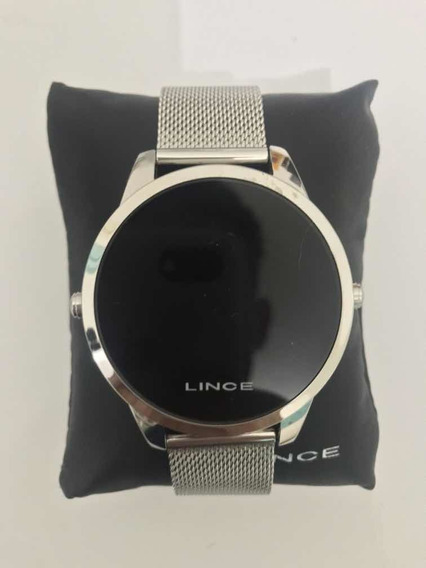 Relógio Lince Masculino Prateado Led