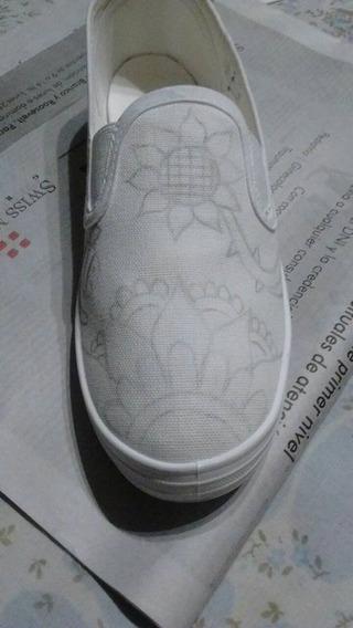 Zapatillas De Lona Pintadas A Mano, Todos Los Talles