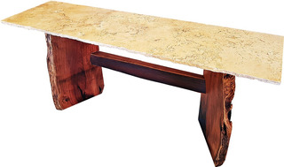 Consola Madera Mezquite Y Marmol Travertino - One Of A Kind