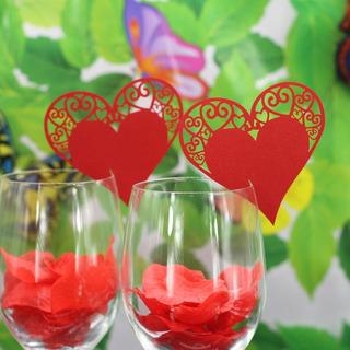 50 Laser Cut Coração Vinho Vidro Place Cartão Casamento B