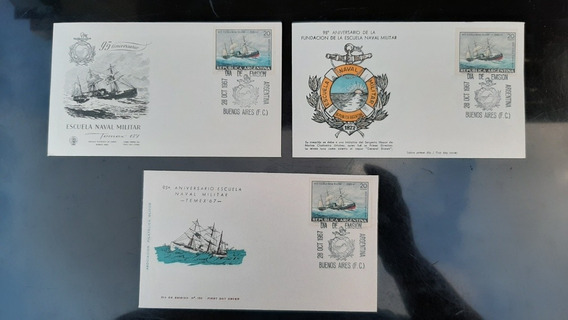 3 Sobres 1er Día - 95 Aniversario Escuela Naval Militar