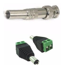 Kit 100 Conector Bnc Com Mola + 100 P4 Macho Com Borne