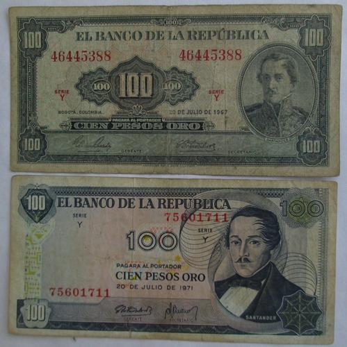 Billetes De Colección Colombia 100 Pesos Oro ( L 1)