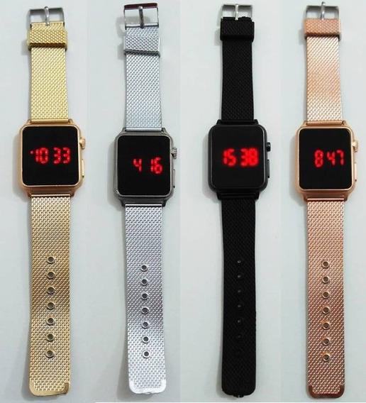 Kit 12 Relógios Feminino Digital Led Touch Quadrado Atacado!