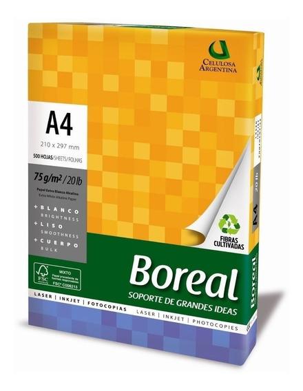 Resma A4 Boreal 75 G Papel Obra Blanco 500 Hojas