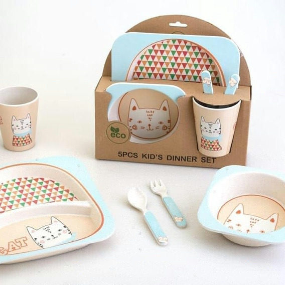 Set Plato Vaso Cubiertos Bebe Fibra Bamboo Eco Babymovil