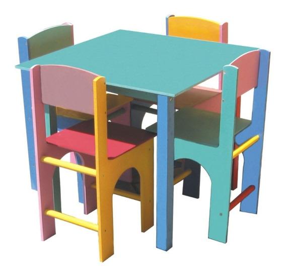 Mesa De Madeira Infantil Com 4 Cadeiras Ciabrink