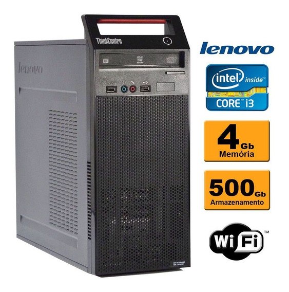 Cpu Lenovo Edge 73 Torre Intel Core I3 4ª 4gb Hd500gb Wifi