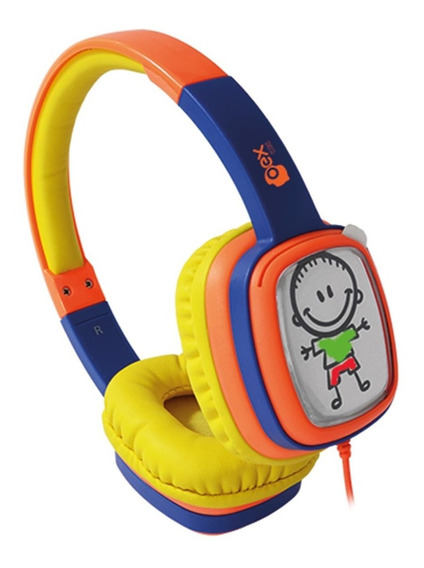Fone De Ouvido Headphone Toon Laranja/azul Infantil Hp302*
