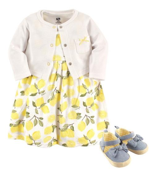 Conjunto 3pzs Vestido Bebé Y Niña Algodón Imp. Oferta