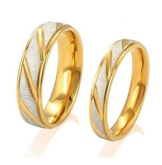 Anel Aliança Elegante Compromisso Noivado Namoro Ouro Gold